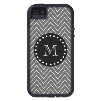 Charcoal Gray Chevron Pattern | Black Monogram iPhone SE/5/5s Case