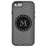 Charcoal Gray Chevron Pattern   Black Monogram iPhone 6 Case