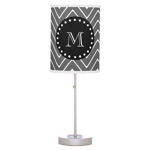 Charcoal Gray Chevron Pattern | Black Monogram Desk Lamps