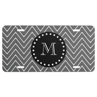 Charcoal Gray Chevron Pattern | Black Monogram License Plate