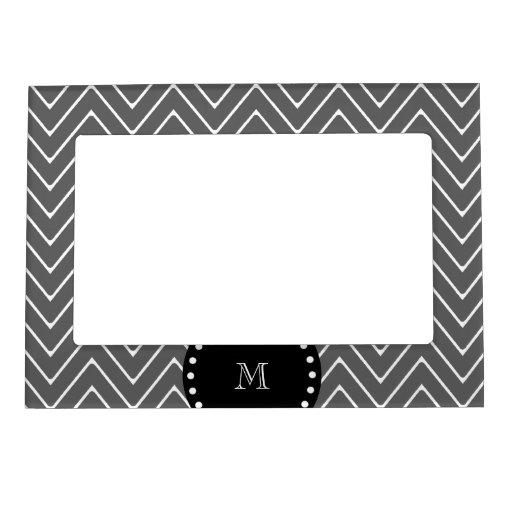 Charcoal Gray Chevron Pattern | Black Monogram Magnetic Frame