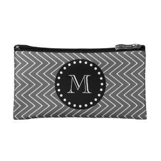 Charcoal Gray Chevron Pattern | Black Monogram Makeup Bag