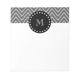 Charcoal Gray Chevron Pattern | Black Monogram Notepad