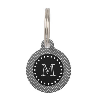 Charcoal Gray Chevron Pattern | Black Monogram Pet Name Tag