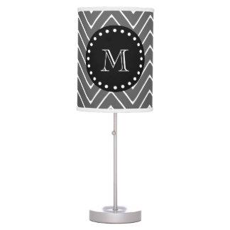 Charcoal Gray Chevron Pattern | Black Monogram Table Lamp