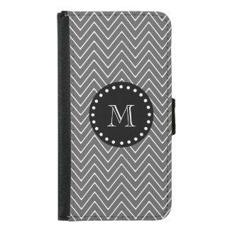 Charcoal Gray Chevron Pattern | Black Monogram Wallet Phone Case For Samsung Galaxy S5