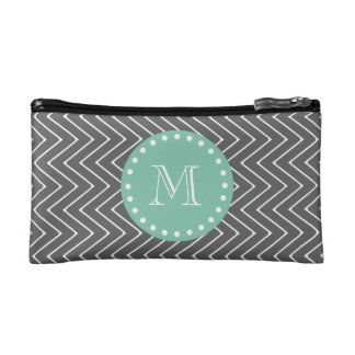 Charcoal Gray Chevron Pattern | Mint Green Monogra Cosmetic Bag