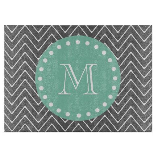 Charcoal Gray Chevron Pattern | Mint Green Monogra Cutting Board