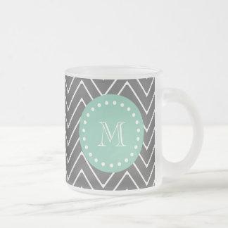 Charcoal Gray Chevron Pattern   Mint Green Monogra Frosted Glass Coffee Mug