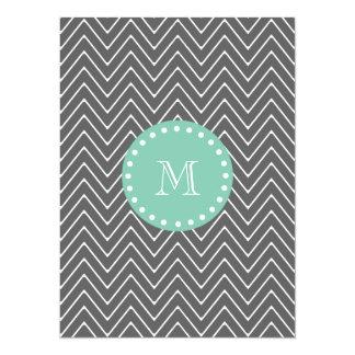 Charcoal Gray Chevron Pattern | Mint Green Monogra 5.5x7.5 Paper Invitation Card