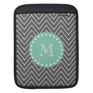 Charcoal Gray Chevron Pattern | Mint Green Monogra iPad Sleeve