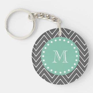 Charcoal Gray Chevron Pattern | Mint Green Monogra Keychain