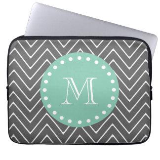 Charcoal Gray Chevron Pattern | Mint Green Monogra Laptop Computer Sleeves