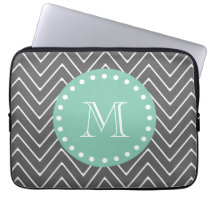 Charcoal Gray Chevron Pattern | Mint Green Monogra Laptop Sleeve