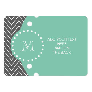 Charcoal Gray Chevron Pattern | Mint Green Monogra Large Business Card