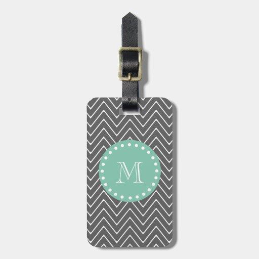Charcoal Gray Chevron Pattern   Mint Green Monogra Luggage Tag