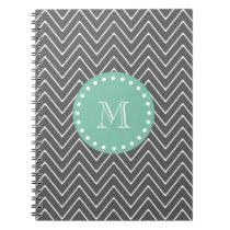 Charcoal Gray Chevron Pattern | Mint Green Monogra Notebook