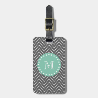 Charcoal Gray Chevron Pattern | Mint Green Monogra Tags For Bags