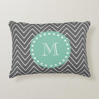 Charcoal Gray Chevron Pattern  Mint Green Monogram Accent Pillow