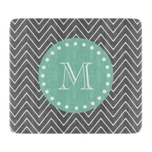 Charcoal Gray Chevron Pattern  Mint Green Monogram Cutting Board