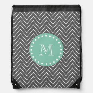 Charcoal Gray Chevron Pattern  Mint Green Monogram Drawstring Bag