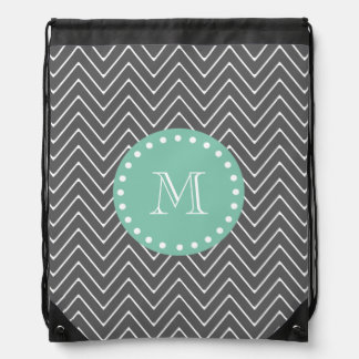 Charcoal Gray Chevron Pattern  Mint Green Monogram Drawstring Bags