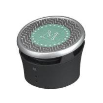 Charcoal Gray Chevron Pattern  Mint Green Monogram Speaker