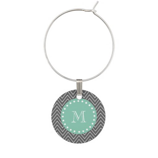 Charcoal Gray Chevron Pattern Mint Green Monogram Wine Glass Charms