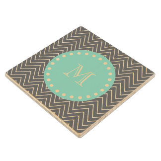 Charcoal Gray Chevron Pattern  Mint Green Monogram Wooden Coaster