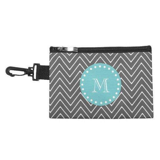 Charcoal Gray Chevron Pattern | Teal Monogram Accessory Bags