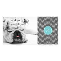 Charcoal Gray Chevron Pattern | Teal Monogram Card