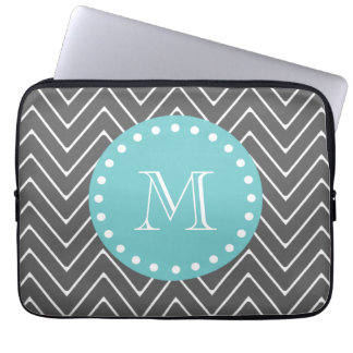 Charcoal Gray Chevron Pattern | Teal Monogram Computer Sleeve