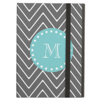 Charcoal Gray Chevron Pattern | Teal Monogram Cover For iPad Air