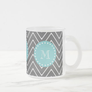 Charcoal Gray Chevron Pattern   Teal Monogram Frosted Glass Coffee Mug