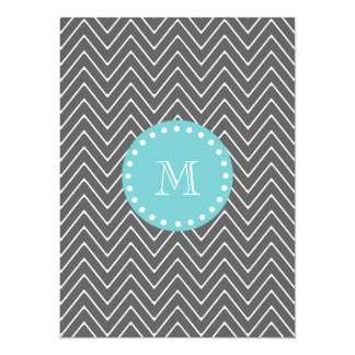Charcoal Gray Chevron Pattern | Teal Monogram 5.5x7.5 Paper Invitation Card