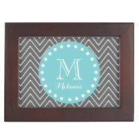 Charcoal Gray Chevron Pattern | Teal Monogram Memory Box