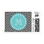 Charcoal Gray Chevron Pattern | Teal Monogram Stamp