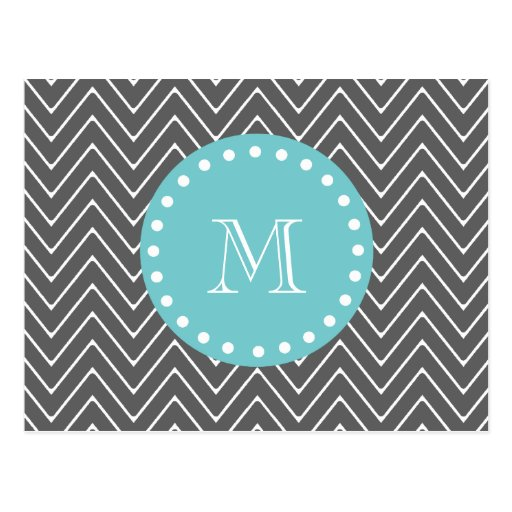 Charcoal Gray Chevron Pattern | Teal Monogram Post Cards