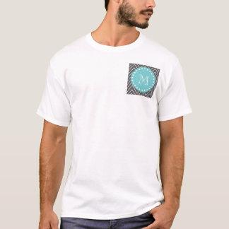 Charcoal Gray Chevron Pattern | Teal Monogram T-Shirt
