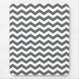 Charcoal Gray Chevron Stripes Mouse Pad