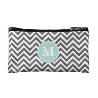 Charcoal Gray Chevron with Custom Monogram Cosmetics Bags