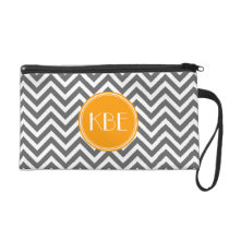 Charcoal Gray Chevron with Custom Monogram Wristlet Purse