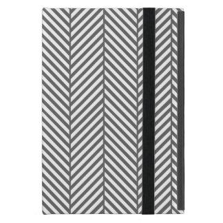 Charcoal Gray Chic Herringbone Cases For iPad Mini
