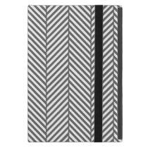 Charcoal Gray Chic Herringbone Cover For iPad Mini