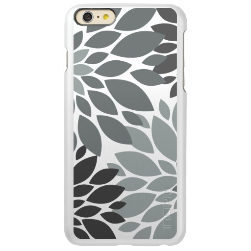 Charcoal Gray Chrysanthemums Floral Pattern Incipio Feather Shine iPhone 6 Plus Case