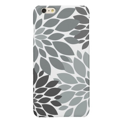 Charcoal Gray Chrysanthemums Floral Pattern Glossy iPhone 6 Plus Case
