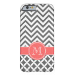 Charcoal Gray & Coral Chevron Custom Monogram Barely There iPhone 6 Case
