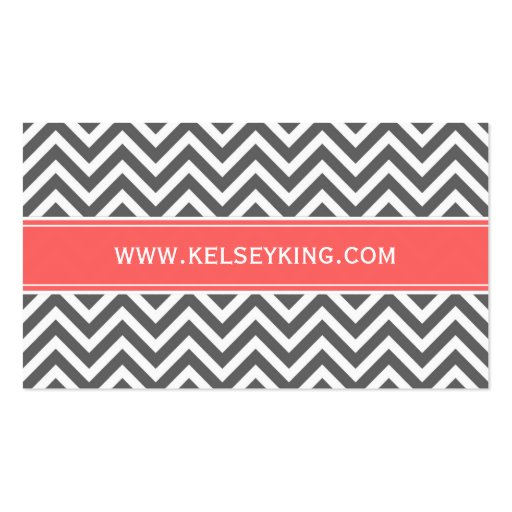 Charcoal Gray & Coral Chevron Custom Monogram Business Card Template (back side)