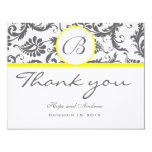 "Charcoal Gray Damask Yellow Wedding Thank You Card 4.25"" X 5.5"" Invitation Card"