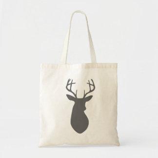 Charcoal Gray Deer Head Silhouette Tote Bag